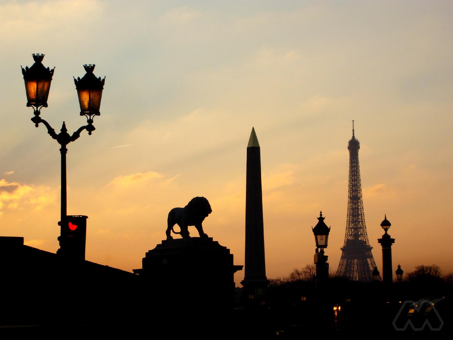 Paris atardecer desde Rue de Rivoli